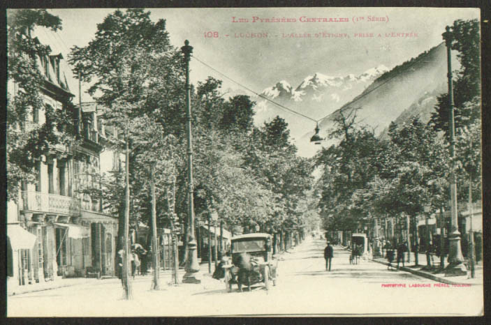 Motorcar Allee Etigny Luchon France postcard 1910s