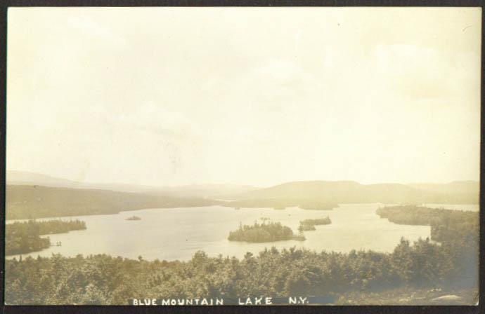 Panorama Blue Mountain Lake & Islands NY RPPC 1913