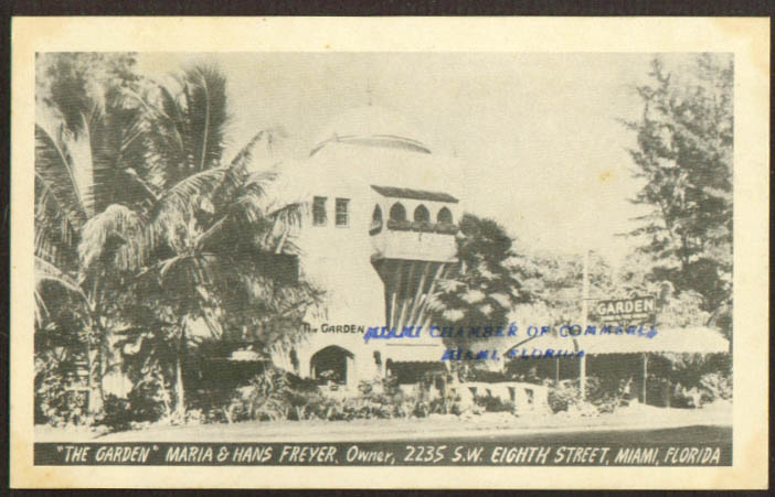 The Garden 2235 SW 8th St Miami FL postcard 1943