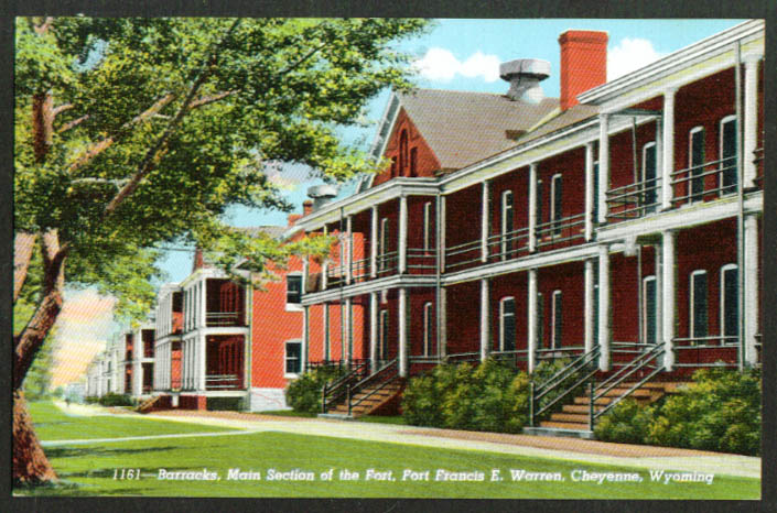 Barracks Fort Francis E Warren Cheyenne WY postcard 1940s