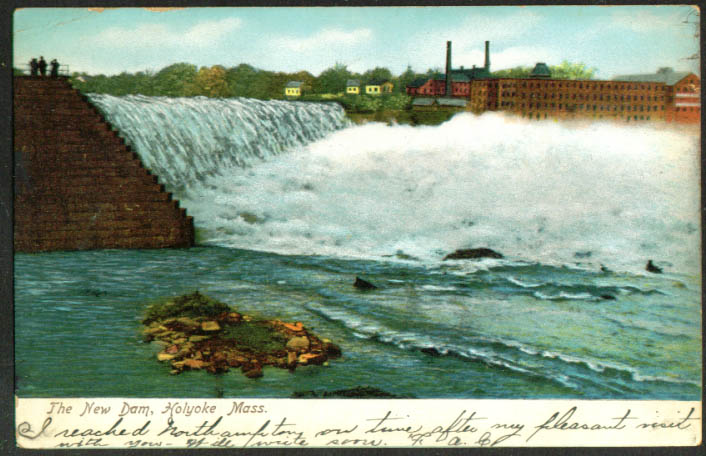 The New Dam at Holyoke MA undivided back postcard 1907
