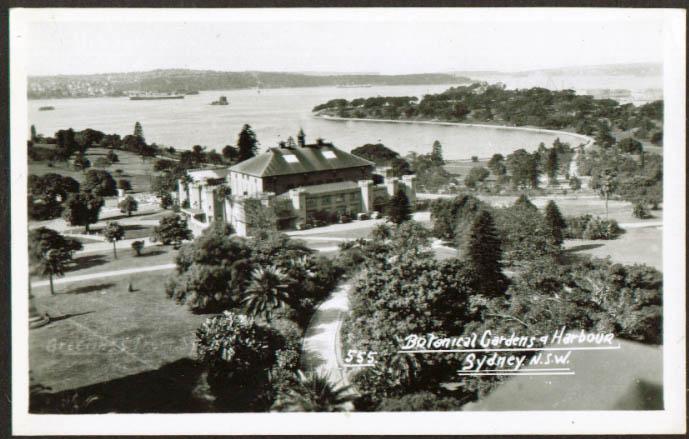 Botanical Garden & Harbor Sydney Australia RPPC postcard 1930s