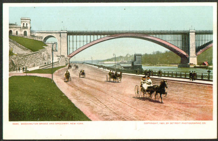 Washington Bridge Speedway New York City undivided back postcard 1901