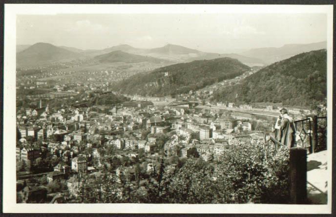 Panorama of Decin-Podmokly Czech RPPC 1940s