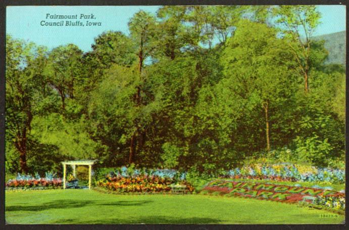 Fairmount Park Council Bluffs IA postcard 1940s