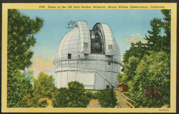 "100"" Hooker Reflector Mount Wilson Observatory CA postcard 1930s"