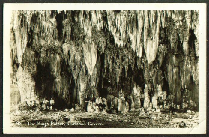 Visitors pose Kings Palace Carlsbad Cavern NM RPPC 1946