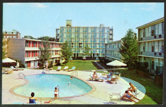 Pool Charter House Hotel Newton MA postcard 1950s
