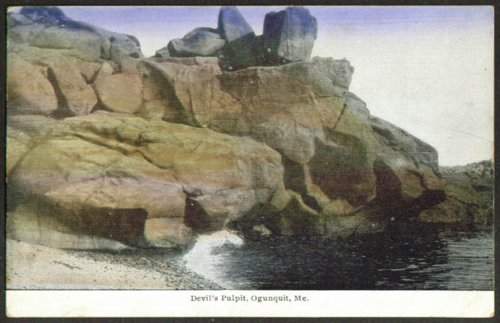 Devil's Pulpit Ogunquit ME postcard 1937