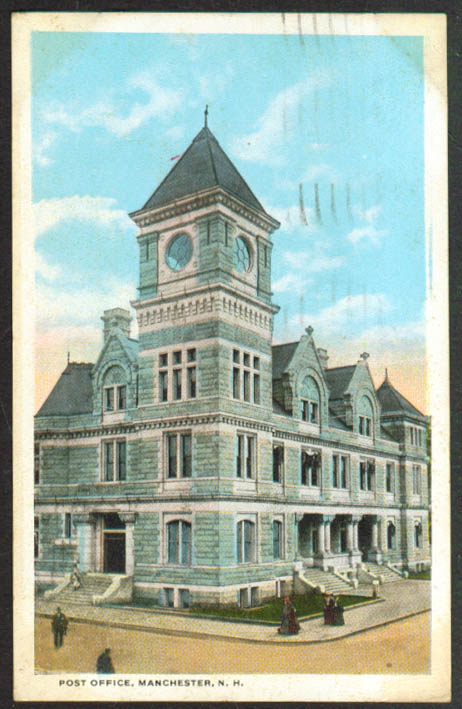 The U S Post Office Manchester NH postcard 1921