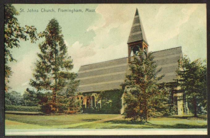 ST John's Church Framingham MA postcard 1910s