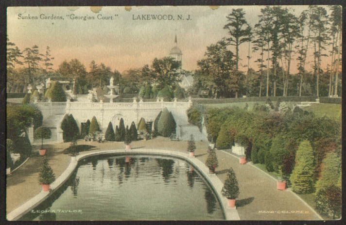 Georgian Court Sunken Gardens Lakewood NJ postcard 1910s