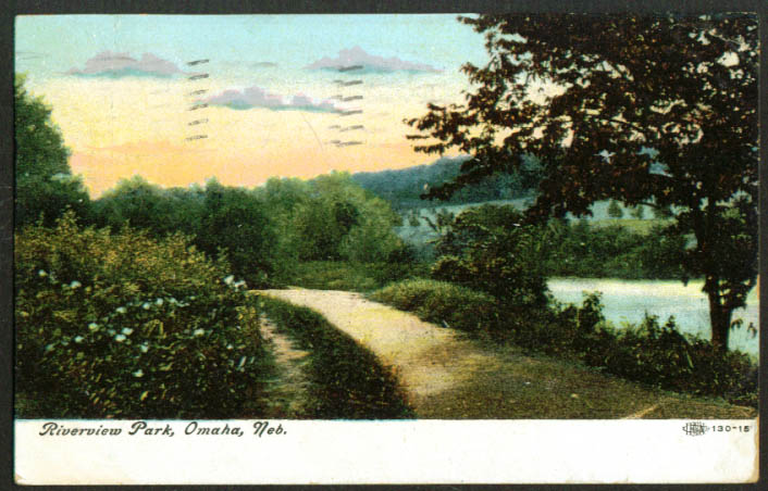 Road through Riverview Park Omaha NE postcard 1907