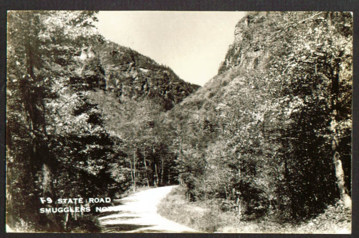 State Road through Smugglers Notch VT RPPC 1930s