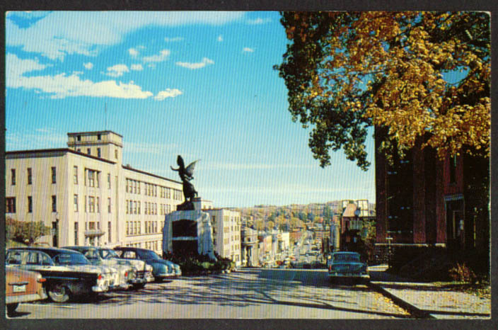 View down King Street West Sherbrooke PQ postcard 1950s
