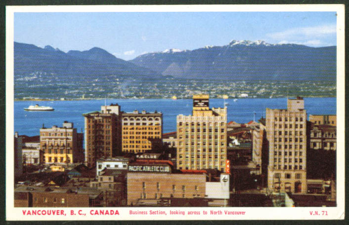 Pacific Athletic Club Vancouver BC postcard 1950s