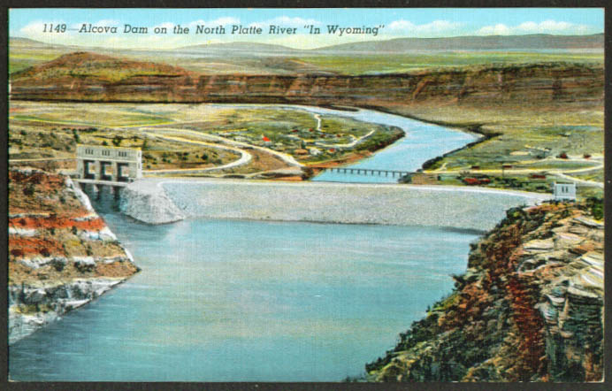 Alcova Dam North Platte River WY postcard 1940s