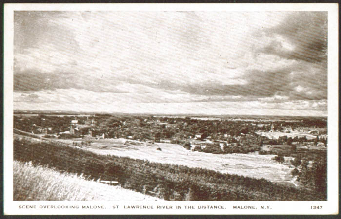 Panorama Malone NY & St Lawrence River postcard 1920s