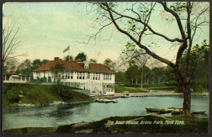 The Boat House Bronx Park New York City postcard 1912
