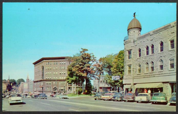 Flanagan Becker's Main St Malone NY postcard 1950s