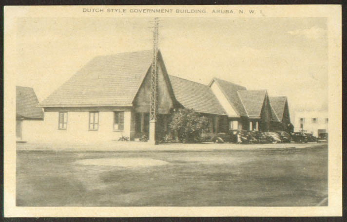 Dutch-style Government Building Aruba NWI postcard 1930s