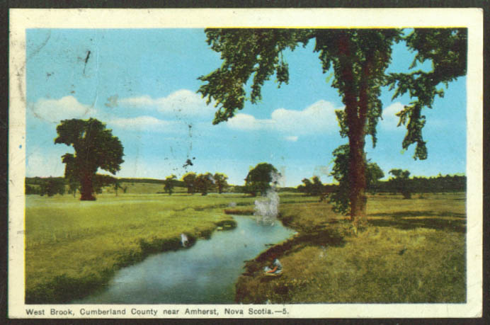 West Brook Cumberland Cty Amherst NS postcard 1948