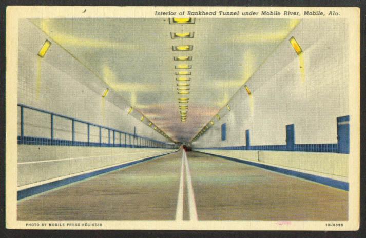 In Bankhead Tunnel Mobile River AL postcard 1958
