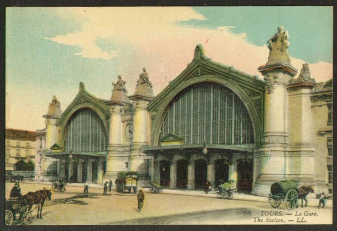 La Gare Railroad Station Tours France postcard 1910s