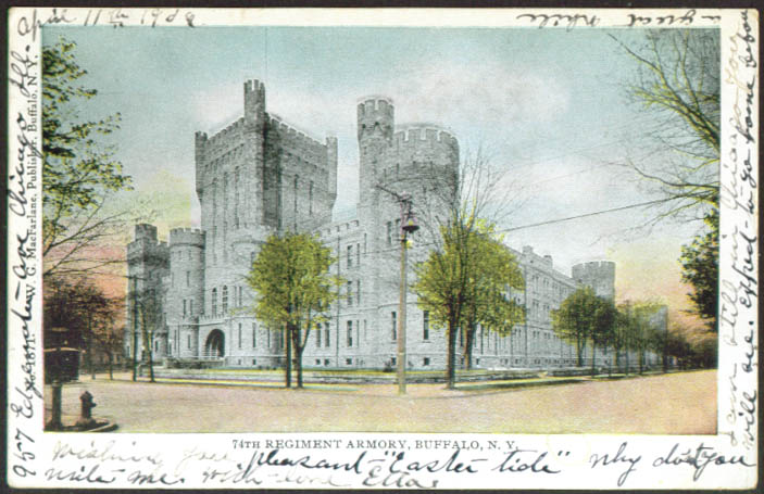 74th Regiment Armory at Buffalo NY undivided back postcard 1906