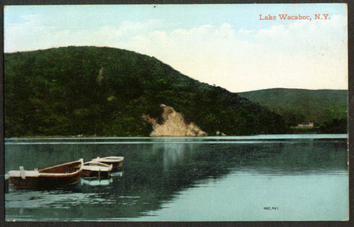 Boats at anchor Lake Wacabuc NY postcard 1910s