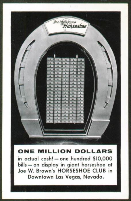 $10,000 bills Horseshoe Club Las Vegas postcard 1950s