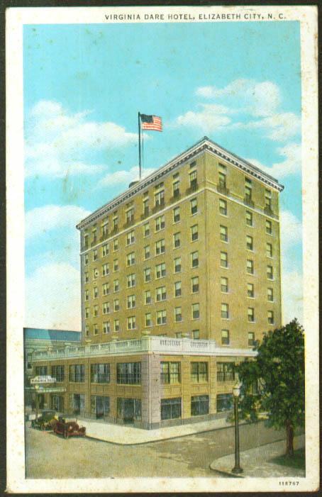 Virginia Dare Hotel Elizabeth City NC postcard 1935