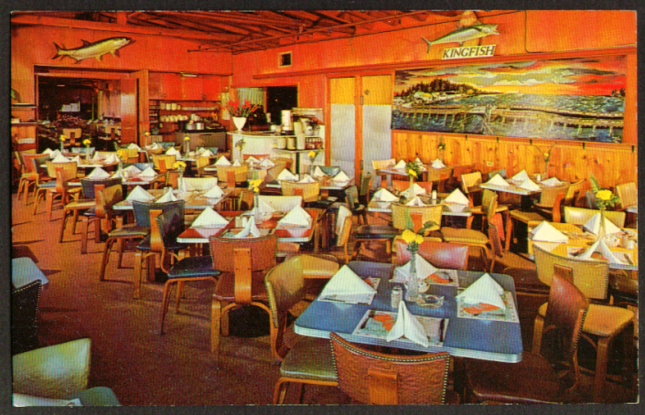 Kingfish Restaurant Treasure Island FL postcard 1950s