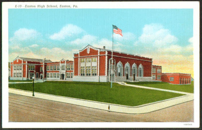 Easton High School at Easton PA postcard 1920s
