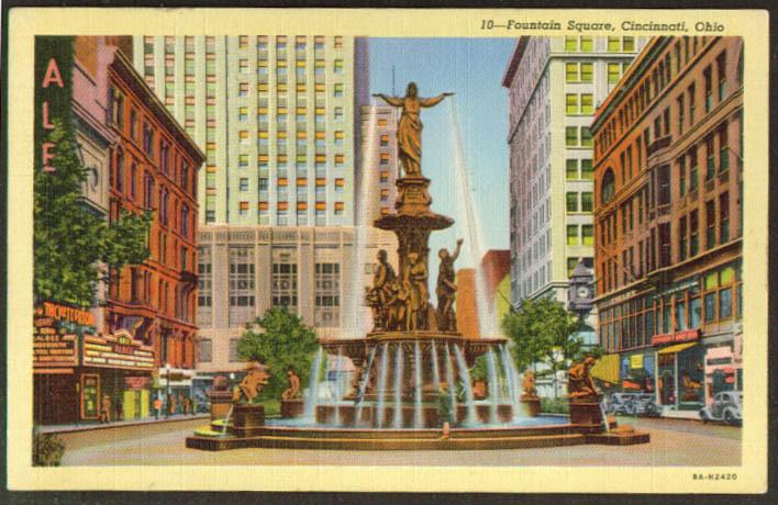 RKO Albee Theatre Fountain Square Cincinnati postcard 1930s