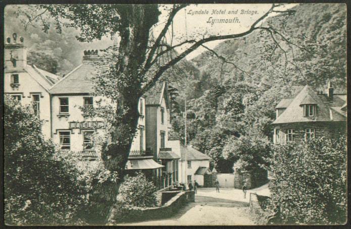 Lyndale Hotel & Bridge Lynmouth UK postcard 1910s