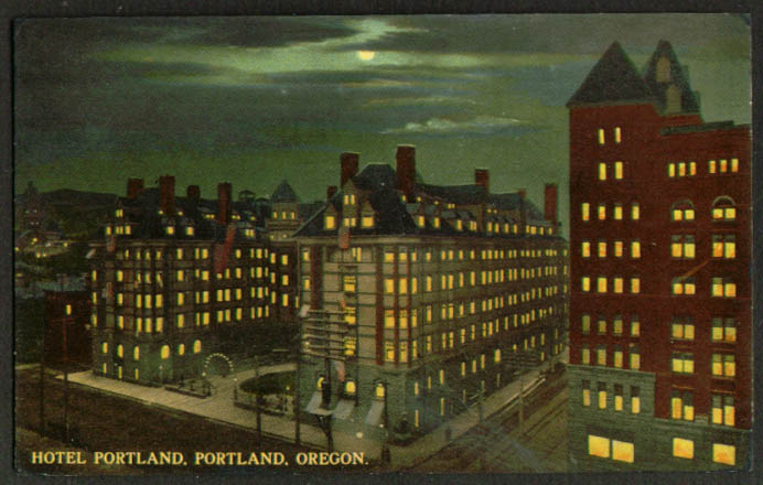 Night view Hotel Portland OR postcard 1910s