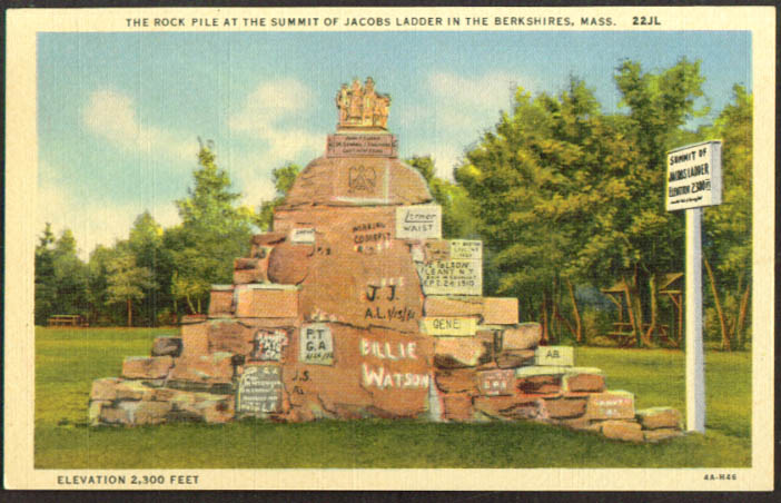 Jacobs Ladder Summit Rock Pile MA postcard 1930s