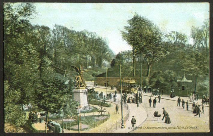 Monument Morts pour Patrie Brest France postcard 1910s
