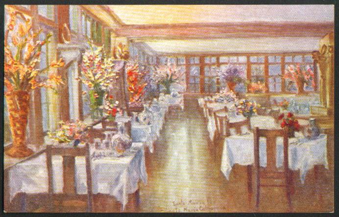 Dining Room Santa Maria Inn CA postcard 1930s