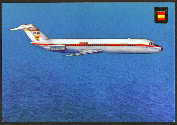Iberia Spanish Airways Douglas DC-9 postcard 1970s