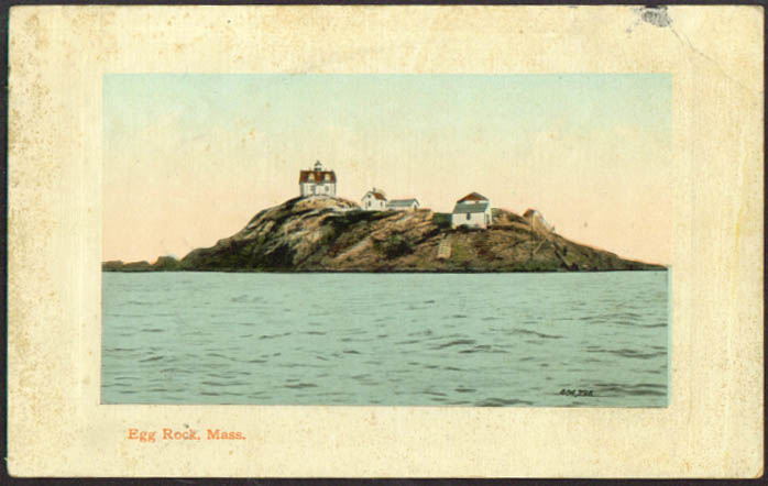 Light House on Egg Rock MA postcard 1910s