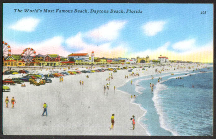 Ferris Wheels & beach Daytona Beach FL postcard 1940s