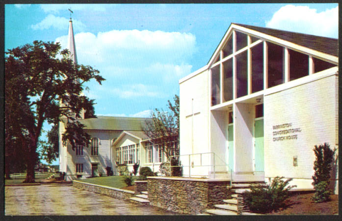 Congregational Church House Barrington RI postcard 1950s
