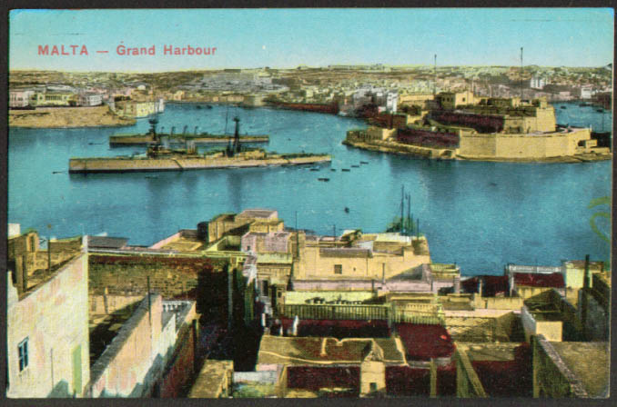 Warships anchored Grand Harbour Malta postcard 1910s