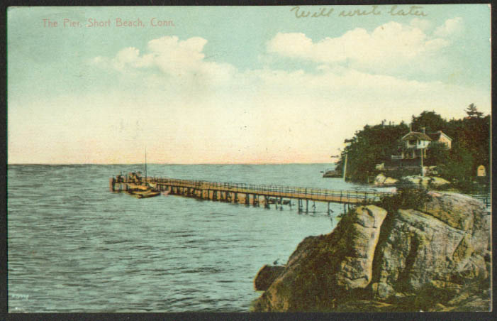 The Pier at Short Beach CT postcard 1909