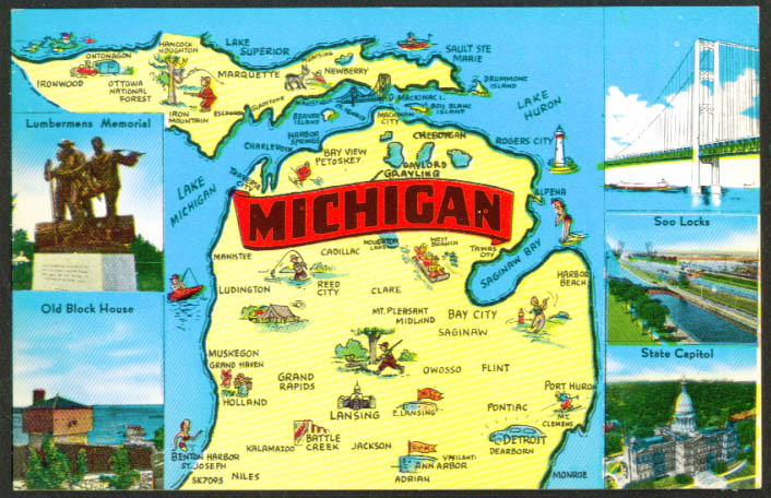 Greetings from michigan map postcard sk7095 1950s mi m4hsunfo