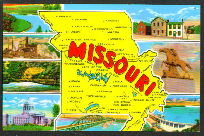Greetings from Missouri Map postcard 9C-K2989 1950s MO