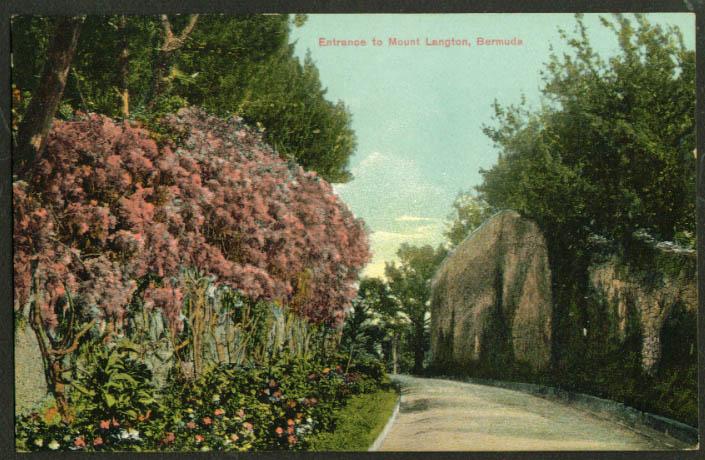 Entrance to Mount Langton Bermuda postcard 1910s