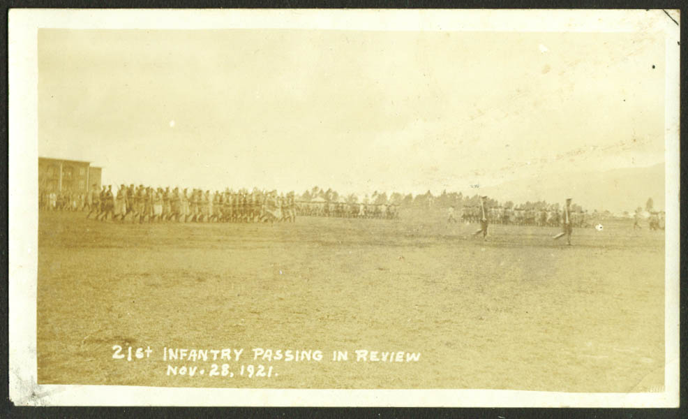 21st Infantry passes in review 11/28 1921 TH photo Hawaii